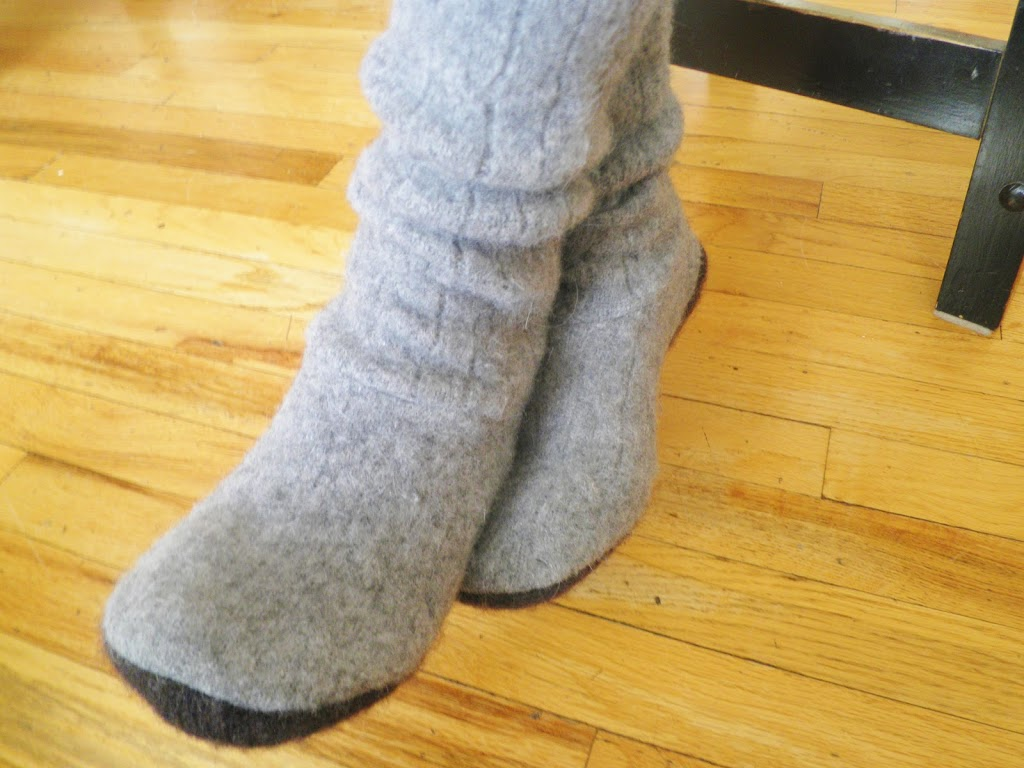 Upcycled Slipper Boots!