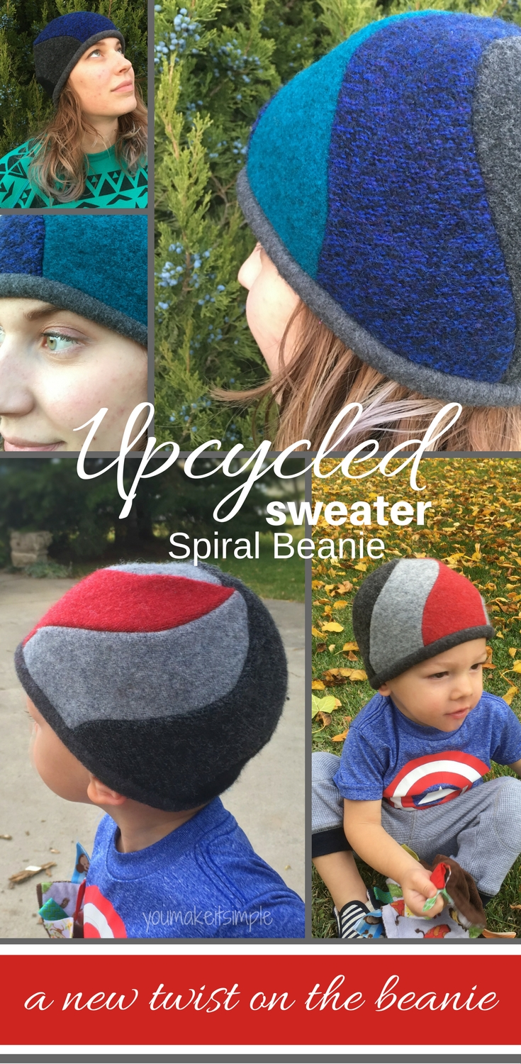 spiral beanie- upcycled sweater sewing pattern -youmakitsimple.com