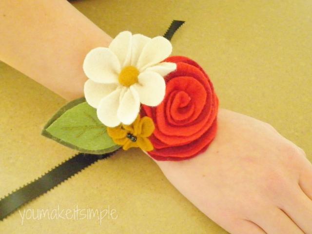 felt flower wrist corsage