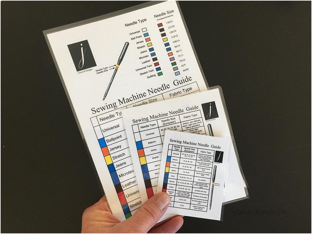 sewing machine needle chart