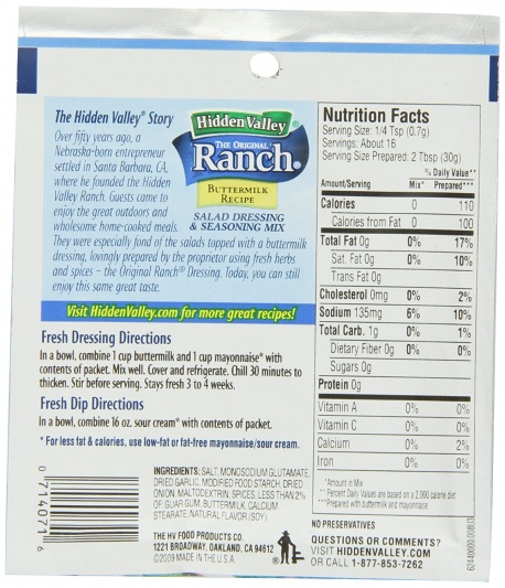 ranch dressing store bought mix