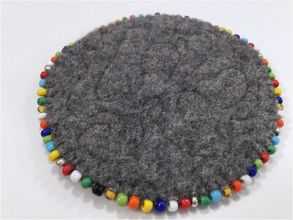 Circular Beaded Coasters Upcycled sweaters