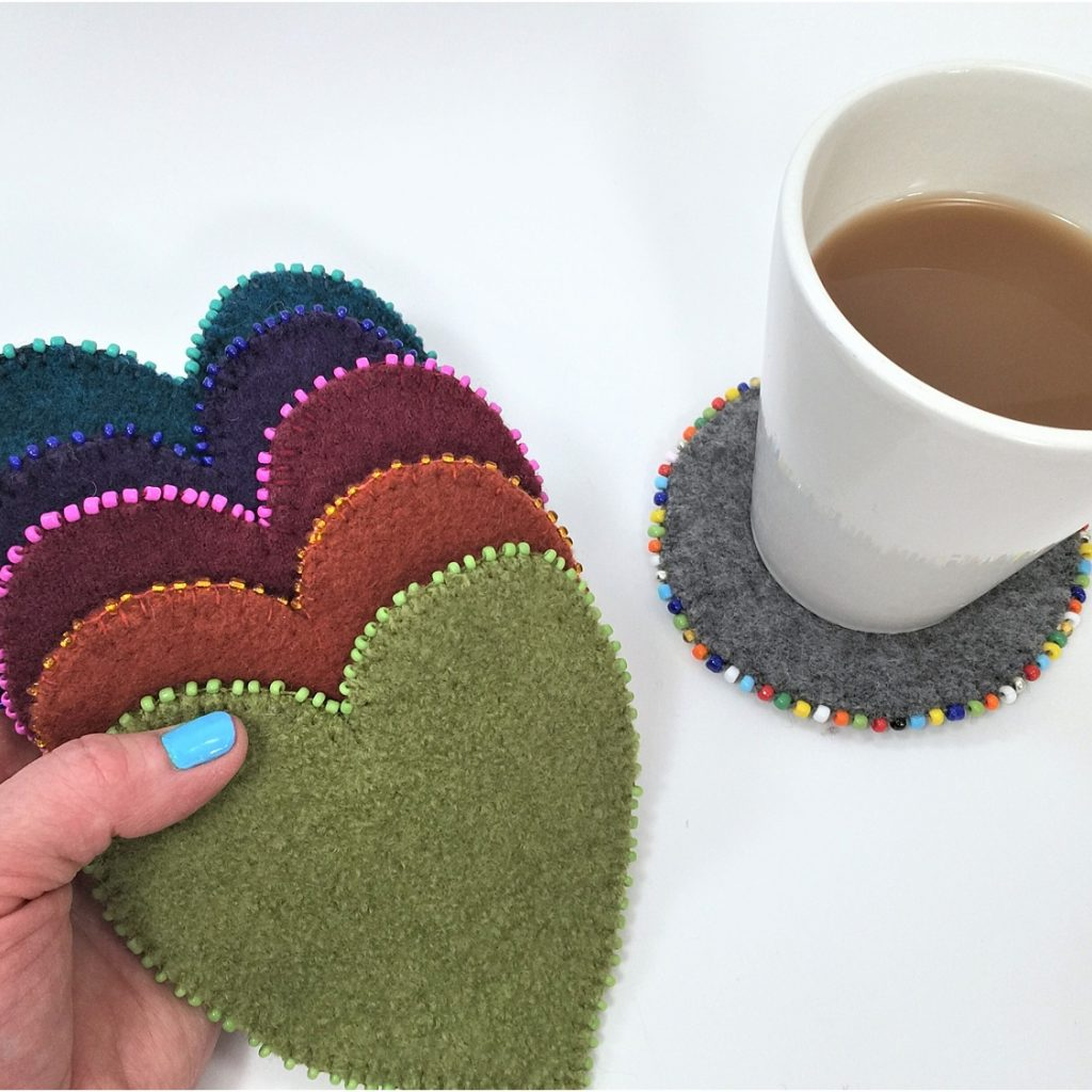 upcycled sweater beaded coasters youmakeitsimple.com