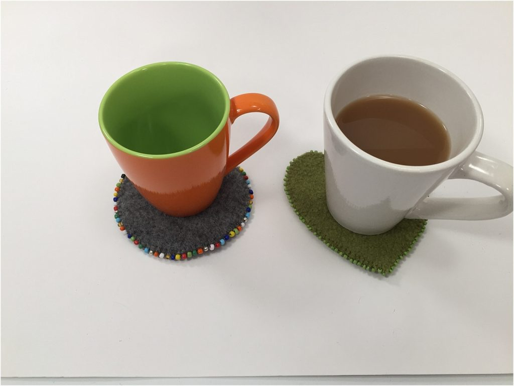 Upcycled sweater coasters coffee mugs
