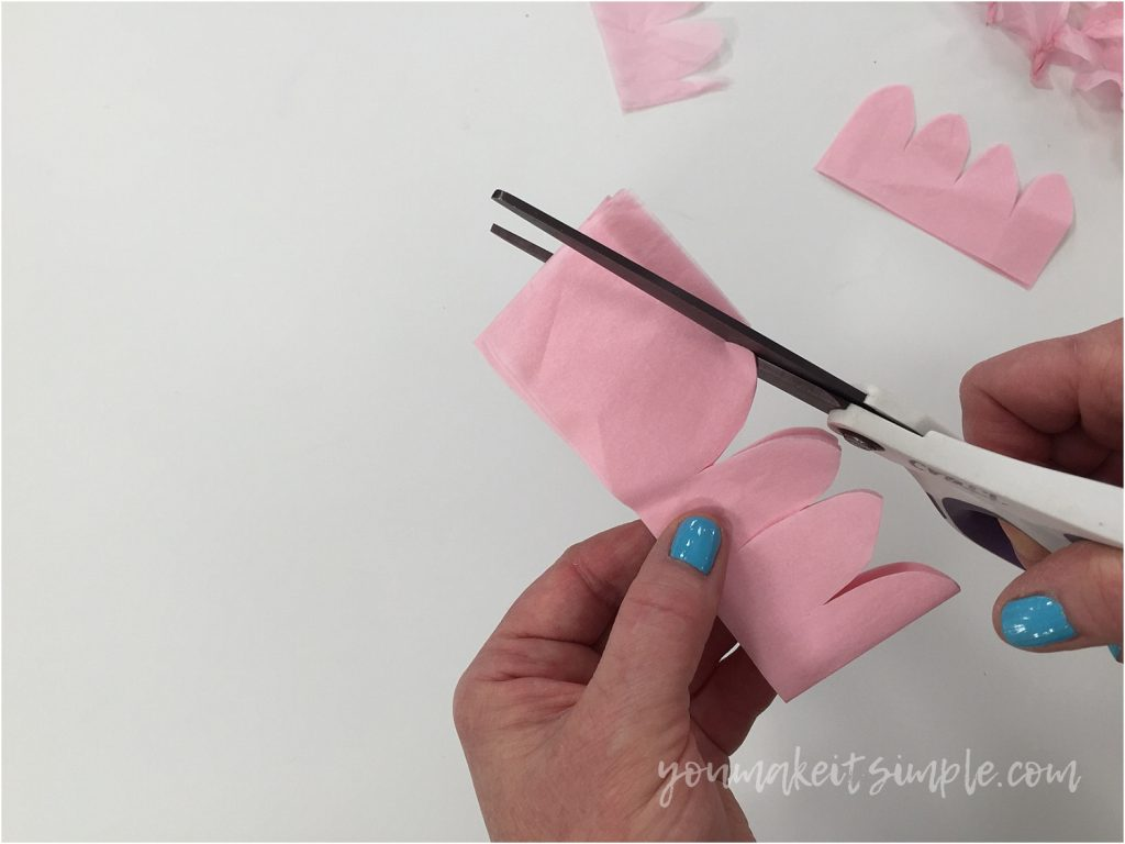 tissue paper blossoms cutting scallops