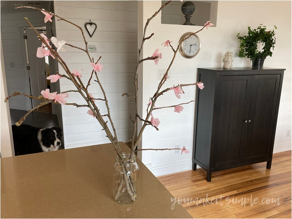 tissue paper blossoms home display