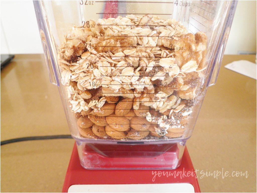 Nut in blender muesli