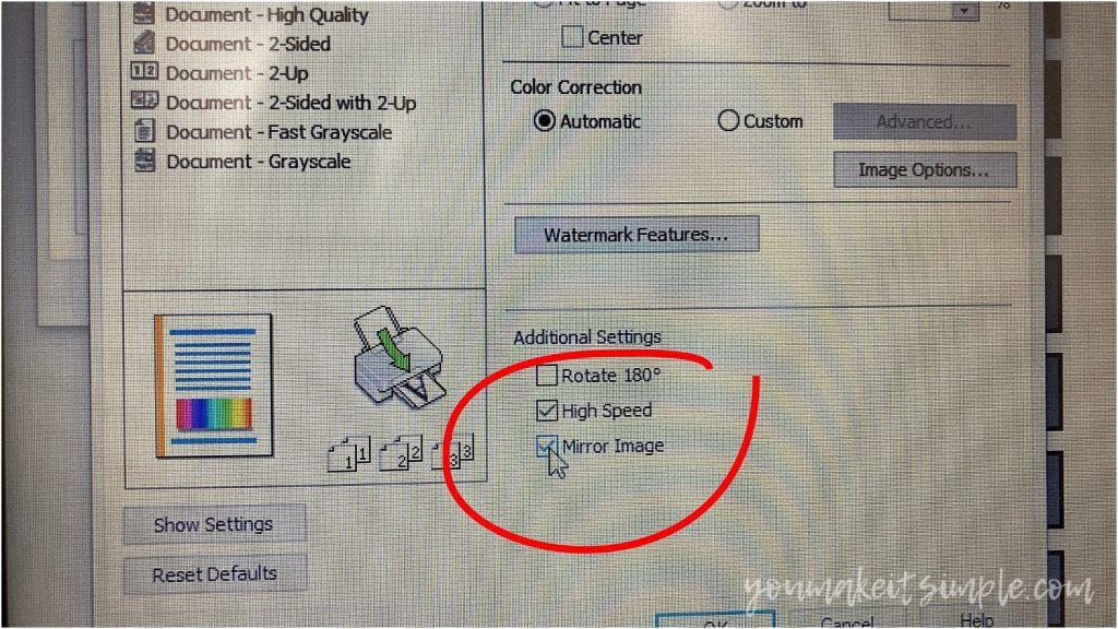 heat transfer paper printer settings