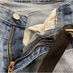 take in jeans at waist cutting slits