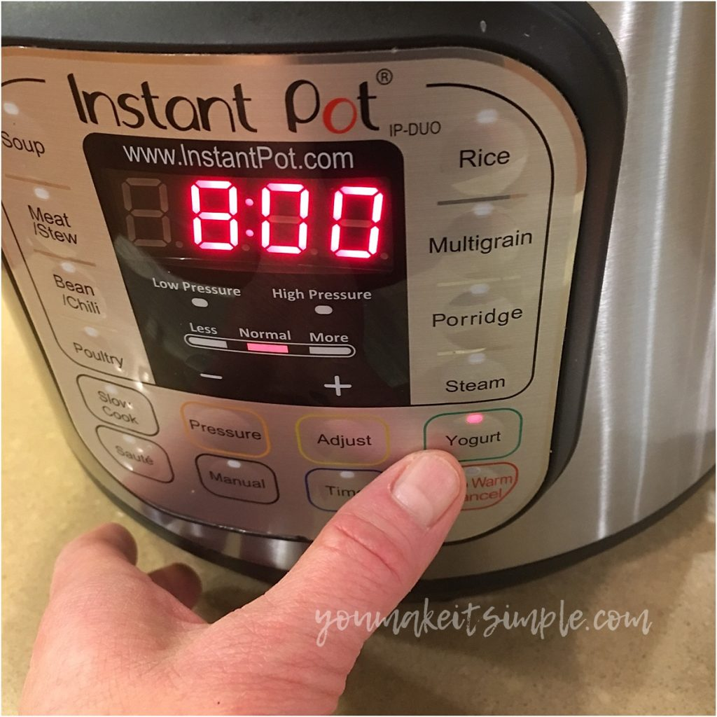 instant pot yogurt timer