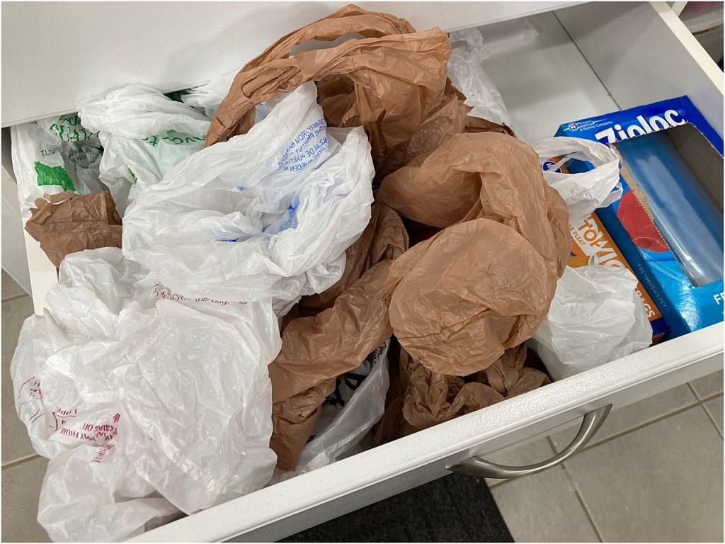 plastic shopping bags messy drawer